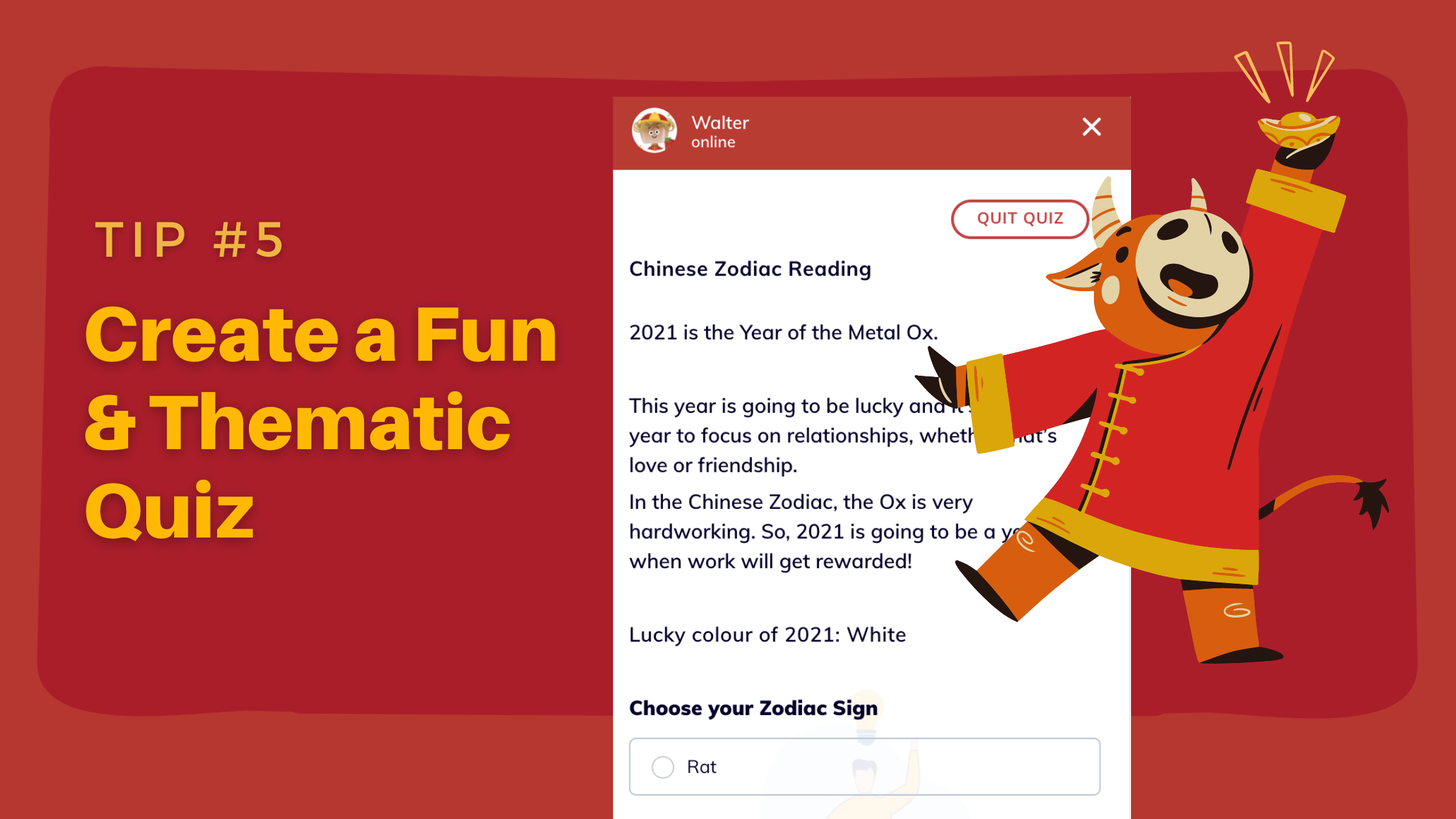 Prepare Your Chatbot for Chinese New Year - create fun quiz